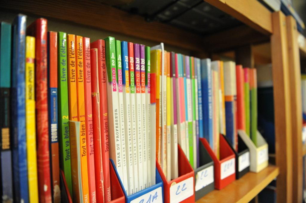 インターナショナルハウスニース校の図書コーナーです。